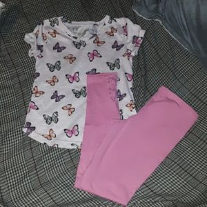 2pc girls 10/12 outfit, butterfly tee w leggings